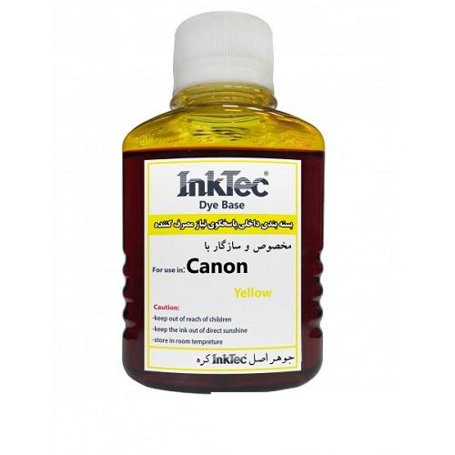 جوهر 100ml اینکتک داخلی زرد پرینتر کانن InkTec 100ml Yellow Canon